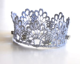 Princess gold, silver or white lace filigree jeweled crown. Crown for baby, girls or women.