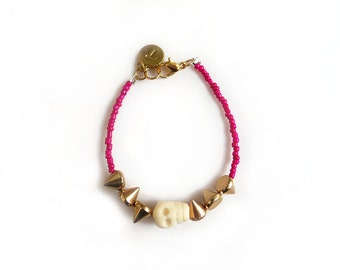 Personalized Initial Bracelet, Beaded Skull Bracelet, Carved Bone Skull Bracelet with Spikes