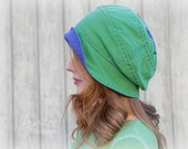 Slouchy Beanie Hat in Green and Purple Upcycled Recycled Repurposed T-shirt Hat