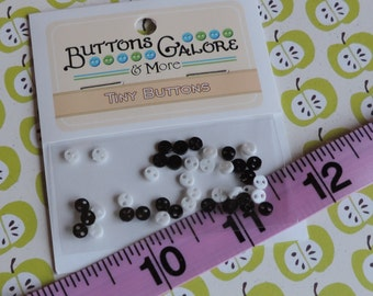 Black and White Tiny Micro Buttons, Round, 2 Hole Buttons by Buttons Galore, Style #1811, Sewing, Crafting Buttons, Embellishments