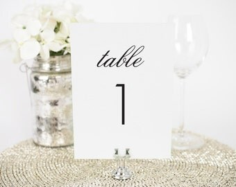 "Wedding Table Numbers - 5x7"", Any Color - Modern Romance Design - Decorative, Party Decoration, Script"