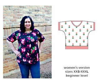 Seena Dolman Tee PDF Sewing Pattern XXS-XXXL