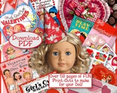 American Girl Doll VALENTINES  over 50 pages of Vintage Fun Stuff to make PDF