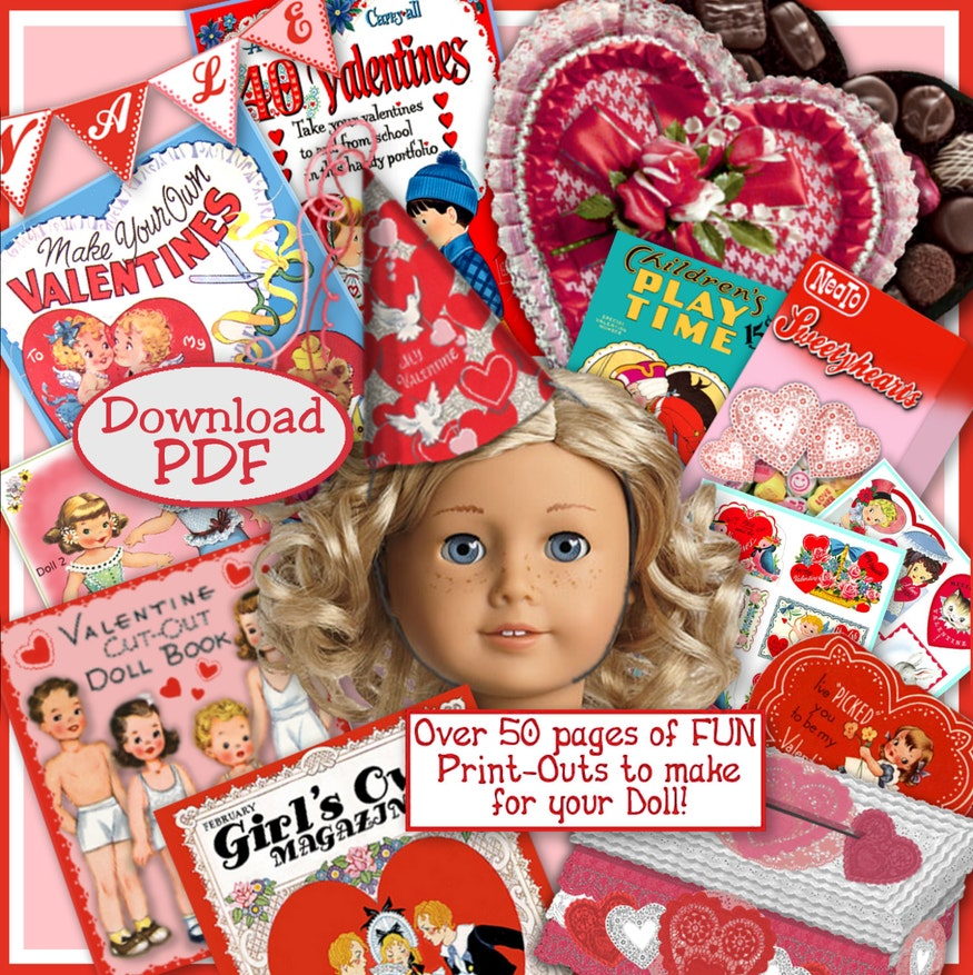 American Girl Doll Vintage Valentine Fun ~ 50 pages of printables