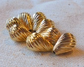 Raw Brass Spiral Textured Teardrop Beads 14mm (8) Mod, Retro, Minimalist