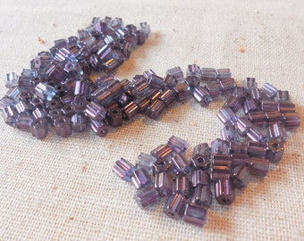 Irridescent Purple Seed/Barrel Glass Beads w/texture (120ct) 4mm, Weaving