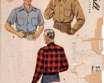 1940s Mens Shirt Pattern - Vintage McCall 5863 - Size Medium