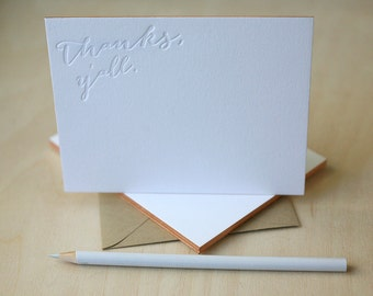Letterpress Edge Painted Notecards - Thanks Y'All Southern Notes