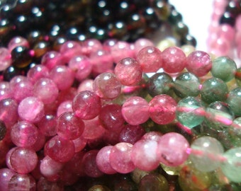3.8-3.9mm, 30% off 2xFull strand, Gorgeous Watermelon Sparkling Tourmaline Smooth Round Beads, Sale
