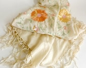 VINTAGE Silk Scarf with Floral Embroidery