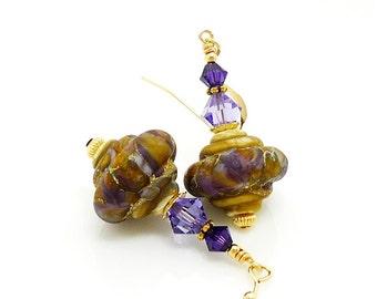 Purple Earrings, Baroque Earrings, Lampwork Earrings, Glass Earrings, Unique Earrings, Glass Bead Earrings, Gold Filled Earrings