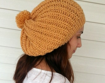 Knit Slouchy Hat, Slouchy Beanie, Women Hat, Hand Knitted Hat, Slouchy Hat, Beret, Yellow Hat, Pompom Hat, Gift under 25