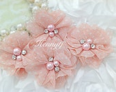 """NEW: 4 pcs Aubrey PEACH PINK with White polka Dots Print - 2"""" Soft Chiffon with pearls and rhinestones Layered Small Fabric Flowers."""