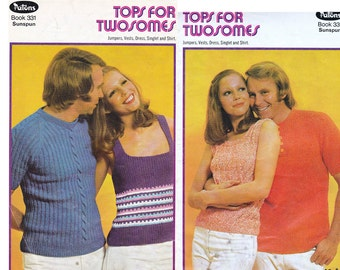 Patons 331 Vintage 1970s Knitting patterns Booklet  His N Hers Skinny Rib tops sweaters Singlet Dress Vests ORIGINALS NOT Pdf
