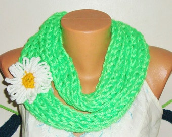 Hand Knit Scarf, Womens Scarves, infinity Scarf, Spring Scarf,  Green Scarf with Daisy
