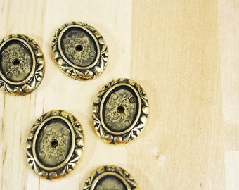 4 Antique Gold Settings Filigree Cabochon 18x13mm