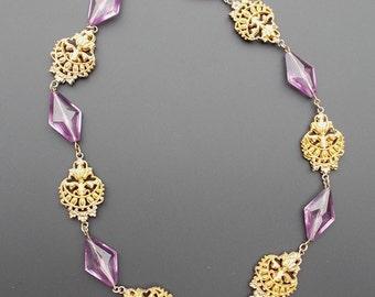 Art Nouveau Necklace,  Deco Necklace, Vintage Amethyst Purple, Glass Bead Necklace, Gilt Filigree Necklace, Czech Glass Necklace