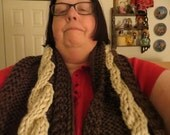 Hand Knit Brown and Cream Cable Scarf