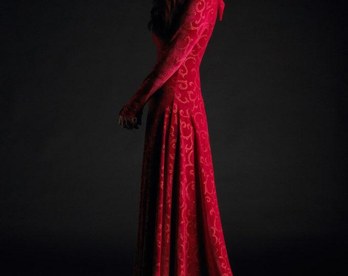 Calista Hooded Dress - Red Riding Hood Fairy Tale Wedding Dress Handmade Bespoke - Dark Romantic Witch Ritual Dress