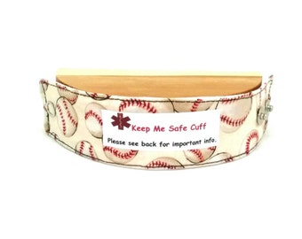 Kids Baseball Safety ID Medical Alert Bracelet Soft Fabric Band