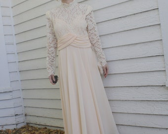 Sheer Lace Dress 1980s Formal Pale Chiffon Peach New Old Stock Vintage 80s S