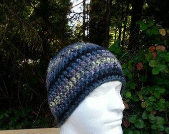 mens hat, youth boys beanie, crochet hat, beanie, mauve, teal, yellow, black, vegan friendly, hats for men, multi-colored, youth adult 5321