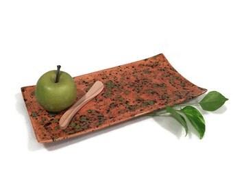 Rectangular Serving Platter Caramel Green