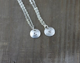 Mother and Daughter Necklaces, Set of Two, Tiny Silver Initial Necklace, Personalized Necklace, Best Friends Necklaces