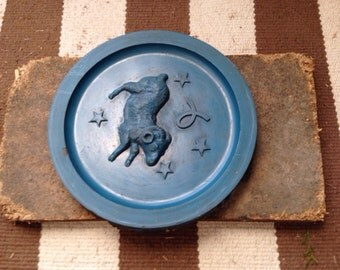Antique Rare Blue Zodiac Pewter Mold Plate of Horoscope Aries Ram.  Astrology Wall Art.  Birthday.