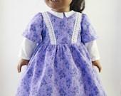 Purple Civil War Doll Dress for 18 inch Dolls, American Girl