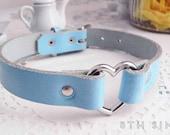 Blue Leather Heart Ring Choker, Blue Heart Choker, Blue Leather Choker, Leather Heart Choker, Blue Heart Ring Choker, Fairy Kei Choker