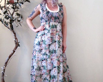 SALE vintage 70s romantic floral maxi dress / muted rose print / Summer goddess deadstock hippie boho prom