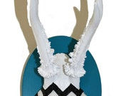Black and White Chevron Roe Deer on Teal Plaque