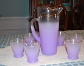 Blendo Purple Frosted Pitcher and 6 Glasses Set Vintage from W.VA. Glass Co.