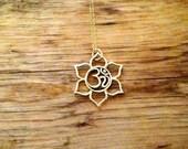 Om Lotus Bronze Outline Large Charm on 14K Gold Filled Necklace