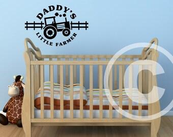 Vinyl wall decal Daddy's little farmer wall decor B104