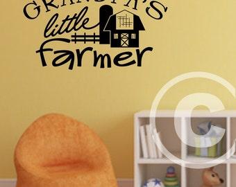 Vinyl wall decal Grandpa's little farmer wall decor B106