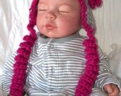 Gray & Fuschia Pink..... Corky Tie Hat...3 sizes...Newborn up to 6 month....Baby GIRL or BOY version...Custom Colors Welcomed .... PHOTOS