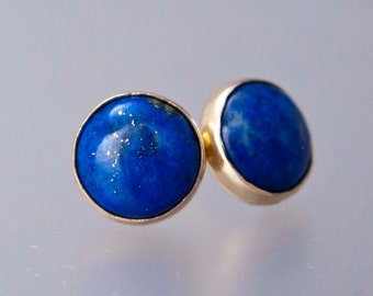 Lapis Lazuli Gold Stud Earrings - 8mm solid 14k gold settings, posts and backs - Ready to Ship