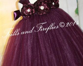 Eggplant Flower girl Dress with Satin Flowers and Eggplant/Plum Satin Ribbon Shoulder Straps, Weddings, Birthdays 1t,2t,3t,4t,5t, 6, 8, 10