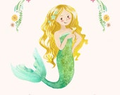 Mermaid Print - Custom Name - Personalized Gift - Mermaid Art - Blonde Mermaid - Little Girl's Room Decor - Kids Art