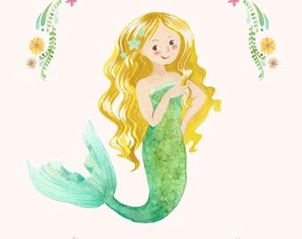 Mermaid Print - Custom Name - Personalized Gift - Mermaid Art - Blonde Mermaid - Little Girl's Room Decor - Kids Art