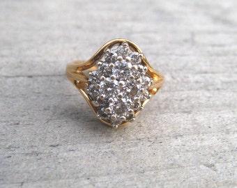 1 Carat 1970 Vintage Diamond Cocktail Ring, 14K Yellow Gold, Size 6, Diamond Ring, Estate Jewelry