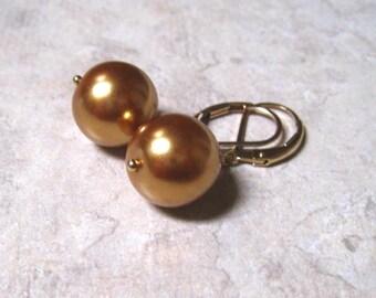 Gold Pearl Drop Earrings, Single Pearl, Simple Classic, Sea Shell Pearl, June Birthstone, Minimalist Earrings, Gold Filled, Pearl Jewelry