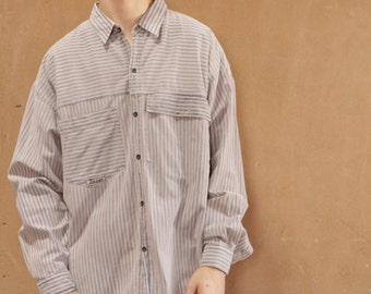 MEN'S vintage STRIPED faded 90s oxford cotton striped long sleeve button up shirt