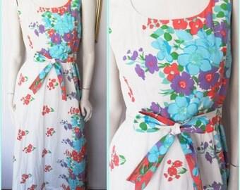 Vtg.70s Cream Coral Aqua Purple Green Floral Print Maxi Dress by Tanner.S.Bust 36.Waist 28.