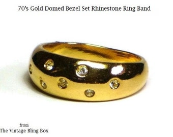 70's Gold Domed Rhinestone Ring Band with Bezel Set Faceted Crystal Accents - 70s Vintage Costume Jewelry