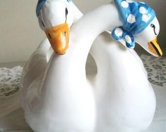 Vintage Ceramic Geese/Goose Planter, Plant Holder, Home Decor, Patio Decor, White and Blue