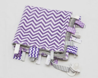 Baby Ribbon Tag Blanket - Minky Binky Blankie - Purple and White Chevron with Light Grey