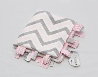 Baby Ribbon Tag Blanket - Minky Binky Blankie - Grey and Pink Chevron